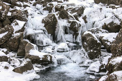 Beautiful frozen waterfalls in Iceland Royalty Free Stock Photos