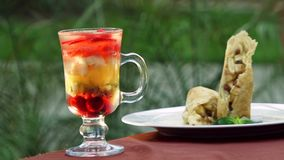 Beautiful Fruit Dessert stock footage