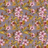 Beautiful fruit tree twigs in bloom on gray background. Pink flowers and yellow leaves. Seamless springtime floral pattern. Watercolor painting. Hand drawn Stock Photos