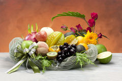 Beautiful and useful fruits in basket Royalty Free Stock Photography