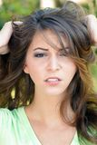 Beautiful Frustrated Brunette Outdoors (2) Stock Images