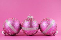 Beautiful fuchsia pink festive bauble ornaments Stock Photography