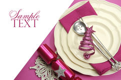 Beautiful fuchsia pink festive Christmas dining table Royalty Free Stock Photography