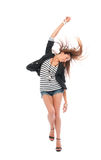 Beautiful full body brunette woman dancing Stock Photography