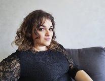 Beautiful full girl curly hair portrait, fashion stock photo