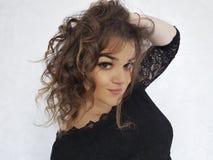 Beautiful full girl wavy hair portrait. Sensual, expression Royalty Free Stock Photos