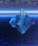 Beautiful Full Iceberg in Ocean with Freighter. Beautiful Full Floating Iceberg in the Open Ocean with Freighter Nearby Stock Photography