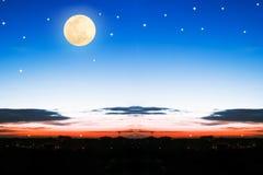 Beautiful full moon on the sky Stock Image