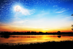 Beautiful full moon and star at night Royalty Free Stock Photos