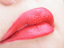 Beautiful Full Red Lips Stock Image