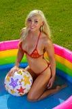 Beautiful fun bikini girl Stock Photography