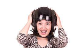 Beautiful fun happy young girl wearing a helmet Royalty Free Stock Images
