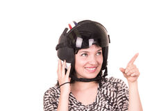 Beautiful fun happy young girl wearing a helmet Stock Photo