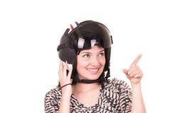 Beautiful fun happy young girl wearing a helmet Stock Photo