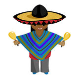 Beautiful, fun Mexican ponchos in bright clothes and a sombrero with maracas in their hands. With Mexican maracas. Vesyly, friendly guy, welcomes guests, playing Royalty Free Stock Photos