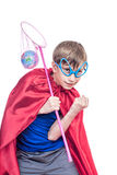 Beautiful funny child dressed as superman saving the Earth Stock Images