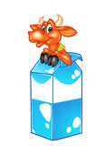 Beautiful funny cow and packaging milk Stock Image