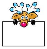 Beautiful funny deer plate cartoon illustration Stock Image