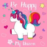 Beautiful and funny hand drawn Be happy unicorn design vector stock photo
