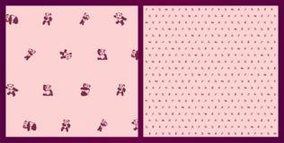 Beautiful funny pink pattern with cartoon pandas stock photo