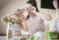 Beautiful funny time mother and daughter royalty free stock images