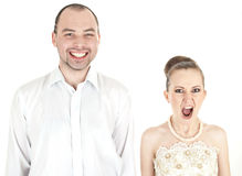 Beautiful funny wedding couple Stock Images
