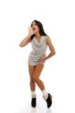 Beautiful funny winter woman screaming Stock Photo