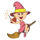 Beautiful funny witch fly with broom and stick for halloween cartoon Stock Images