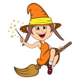 Beautiful funny witch fly with broom and stick for halloween cartoon Royalty Free Stock Photos