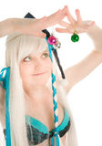 Beautiful funny woman with new year balls Royalty Free Stock Photos