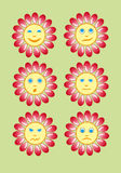 Beautiful and funny yellow smiley in a small set of sun. Vector Royalty Free Stock Photo