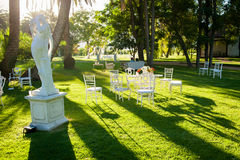 Beautiful furniture in the garden. Beautiful elegant furniture in the garden Royalty Free Stock Photo
