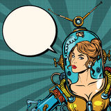 Beautiful futuristic girl close up. Beautiful futuristic girl in a sexy space suit pop art retro vector. Woman captain astronaut. Science fiction hero female Stock Photo