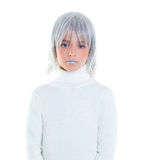 Beautiful futuristic kid girl futuristic child with gray hair. Wig royalty free stock photography