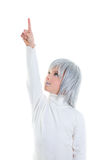 Beautiful futuristic kid girl futuristic child with gray hair Stock Photo