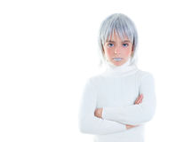 Beautiful futuristic kid girl futuristic child with gray hair Stock Image