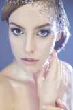 Beautiful futuristic style make up woman with foil and metallic Royalty Free Stock Photography