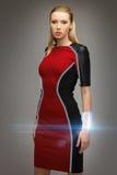 Beautiful futuristic woman. Bright picture of beautiful futuristic woman Stock Image