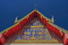 Beautiful The gable of the temple. Thai temple's gable with beautiful pattern of Thai style Royalty Free Stock Photo