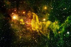 Beautiful galaxy background with nebula, stardust and bright stars. Elements of this image furnished by NASA royalty free stock photo