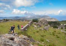 Beautiful galician landscape with tourists Stock Photo