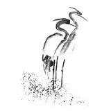 Beautiful gallant stork Heron crane love. Ancient monochrome black ink. Japanese painting sumi-e. Royalty Free Stock Images