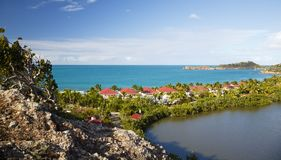 Galley Bay, Antigua. The beautiful Galley Bay with hotel buildings in Antigua stock photos