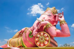 Beautiful Ganesh statue on blue sky at wat saman temple in Prachinburi province of thailand Royalty Free Stock Photo
