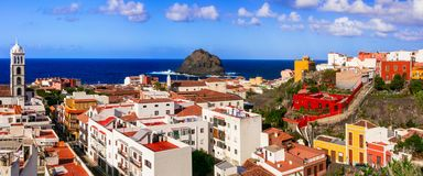 Landmarks and beautiful places of Tenerife - colorful town Garac Stock Images