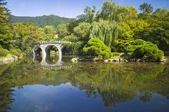 Beautiful garden. In Haeinsa temple, South Korea Stock Photo