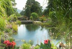 Beautiful garden in the alps of austria ramsau am dachstein stock image