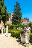 Beautiful garden in the ancient Baths of Diocletian in Rome Stock Image