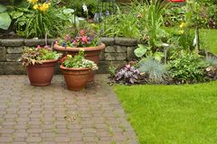 Beautiful Patio Garden. Beautifully kept patio garden filled with perennials and annuals Stock Images