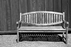 Beautiful Garden Bench in Black and White Royalty Free Stock Photos